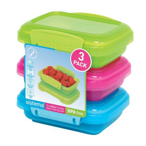 Sistema 1524. Pack 3 contenedor de 200 ml de capacidad. Producto libre de BPA, libre de plomo, color magenta, verde y azul.