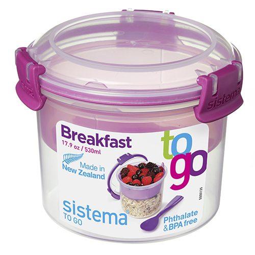 Sistema 21355MA. Contenedor para yogurt de 530 ml de capacidad. Producto libre de BPA, libre de plomo, libre de Ftalatos y color magenta.