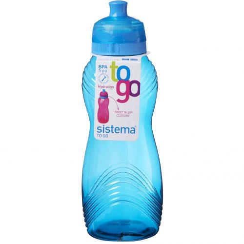 Sistema 600AZ. Botella de agua de 600 ml de capacidad. Producto libre de BPA, libre de plomo, libre de Ftalatos y de color azul.