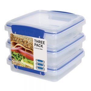 Sistema 1643. Set de 3 contenedores para sándwich. Set fabricado libresde plomo y con materiales 100% vírgenes. Libre de BPA y Ftalato.