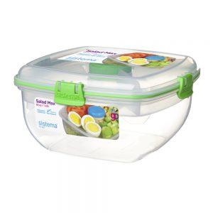 Sistema 21357VE. Contenedor ensaladas de la línea TO GO Modelo 21357 color verde. Producto libre de BPA, libre de plomo y Ftalato.