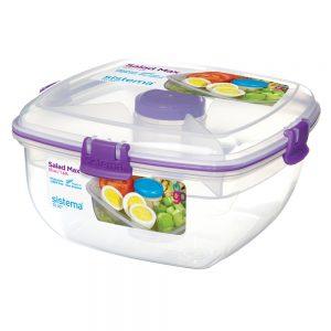 Sistema 21357MO. Contenedor para ensaladas de línea To Go. Modelo 21357 de color morado. Producto libre de BPA, libre de plomo y además libre de Ftalato.
