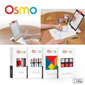 OSMO Kit Genius, juego tecnológico educacional. Funciona en base a realidad aumentada, con interacción de un iPad y piezas físicas de juegos fuera de ella.