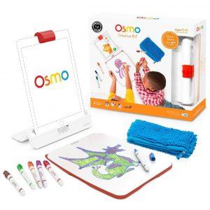 Osmo Kit Creativo es un juego educativo. Concepto realidad aumentada, donde los niños interactúan con un iPad y piezas físicas fuera de la pantalla de este.