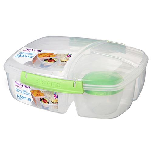 Sistema 20920VE. Contenedor triple TO GO, es perfecto para transportar tu almuerzo y snacks para llevar. Incluye contenedor de yogurt de 150ml.
