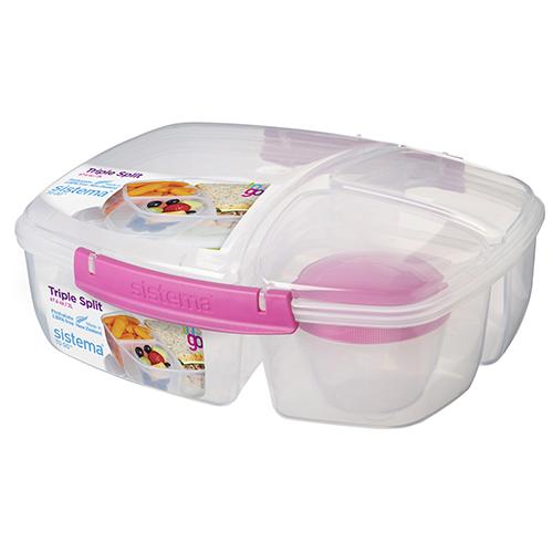 Sistema 20920MA. Contenedor triple TO GO, es perfecto para transportar tu almuerzo y snacks para llevar. Incluye contenedor de yogurt de 150ml.