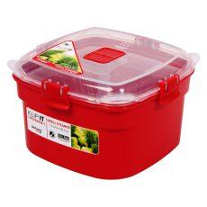 Sistema 1101. Vaporizador para microondas de 1.4 lts capacidad. Producto libre de BPA, libre de plomo, libre de Ftalatos y de color rojo.