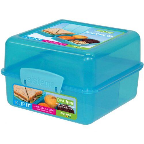 Sistema 1735AZ. Contenedor para almuerzode 1.4 litros de capacidad. Producto libre de BPA, libre de plomo y libre de Ftalatos, de color azul.