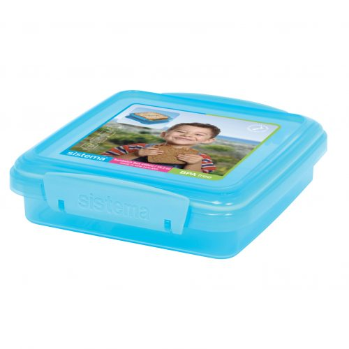 Sistema 1646AZ. Contenedor Sándwich de 450 ml de capacidad. Producto libre de BPA, libre de plomo y libre de Ftalato, de color azul.