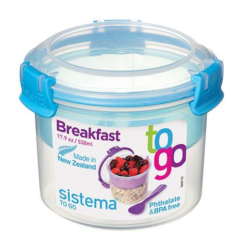 Sistema 21355AZ. Contenedor para yogurt de 530 ml de capacidad. Producto libre de BPA, libre de plomo, libre de Ftalato y de color azul.