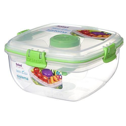 Sistema 21356VE. Contenedor para Ensalada de 1.1 litros de capacidad. Producto libre de BPA, libre de plomo y Ftalatos, color verde.