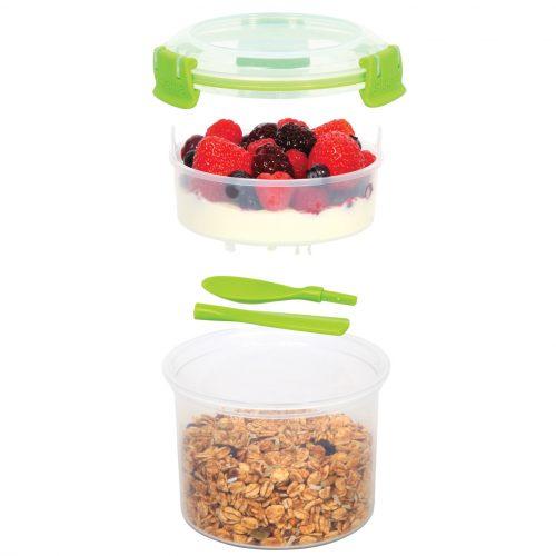 Sistema 21355VE. Contenedor para yogurt de 530 ml de capacidad. Producto libre de BPA, libre de plomo, y libre de Ftalatos color verde.