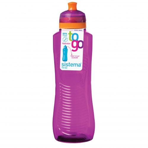 Sistema 850MO. Botella de agua de 800 ml de capacidad. Producto libre de BPA, libre de plomo, libre de Ftalatos y de color morado.