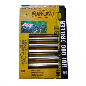 Man-Law MAN-HY3. Sartén parrilero para grillar hasta 5 salchichas.El mango del sartén se puede remover mientras esta sobre la parrilla.