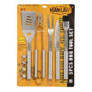 Man-Law MAN-SH2. Set parrillero de 5 piezas y 4 medidores de cocción. Todas las piezas fabricadas en acero inoxidable de uso pesado de 2.0 mm de espesor.