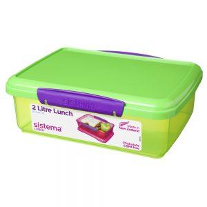 Sistema 31712VE. Contenedor de 2 litros de capacidad. Producto libre de BPA, libre de plomo y además fabricado con polipropileno virgen.Verde.
