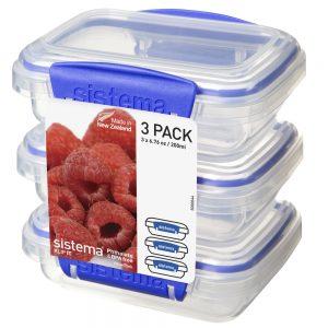 Sistema 1523. Set de 3 contenedores de 200 ml de capacidad. Producto fabricados libres de plomo y con materiales 100% vírgenes. Libre de BPA y Ftalato.