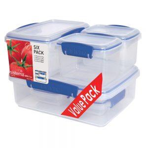 Sistema 1760. Set de 6 contenedores herméticos 2 contenedores de 2 litros, 1 contenedor de 1 litro, 2 contenedores de 400 ml. 2 contenedores de 200 ml.