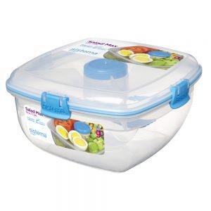 Sistema 21357AZ. Contenedor ensaladas línea TO GO Modelo 21357, color azul. Producto libre de BPA, libre de plomo y Ftalato.