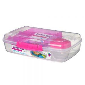 Sistema 21671MA. Contenedor Bento Box magenta y producto libre de BPA.