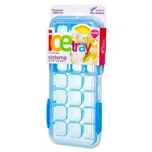 Sistema 61448AZ. Molde para hielo con tapa para 21 cubos línea Klip it Modelo 61448, color azul. Producto libre de BPA, libre de plomo y Ftalato.