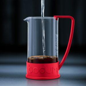 Bodum Brazil roja. Cafetera prensa francesa, modelo Brazil de 350 ml o para 3 tazas, y fabricado en Portugal. Modelo 10948-294BUS. Disfruta mejor café.