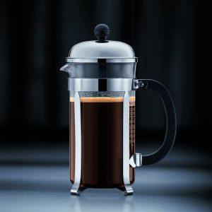 Bodum Chambord Plata. 1928-16US4 1 litro. El modelo es un verdadero original; la clásica cafetera de prensa francesa diseñada en los años cincuenta.
