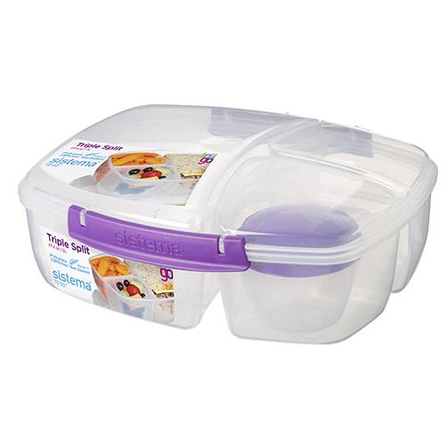 Sistema 20920MO. Contenedor triple TO GO, es perfecto para transportar tu almuerzo y snacks para llevar. Incluye contenedor de yogurt de 150ml.