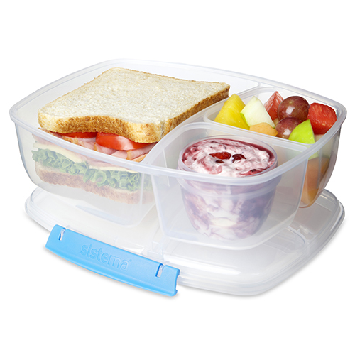 Sistema 20920AZ. Contenedor triple TO GO, es perfecto para transportar tu almuerzo y snacks para llevar. Incluye contenedor de yogurt de 150ml.
