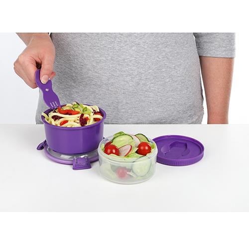 Sistema 21360MO. Capsula para Almuerzo. Espacio amplio para papas, curries o cereales. Espacio para yogurt, ensaladas o snacks. Hay múltiples posibilidades.