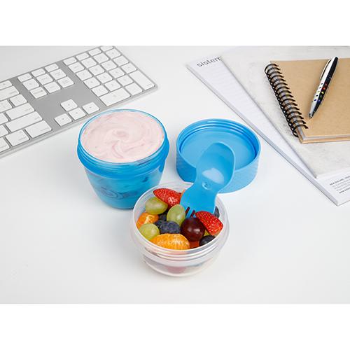 Sistema 21488AZ. Capsula para snaks es ideal para llevar al lugar que vayas, y presenta dos espacios para mantener la comida separada y lista para comer.