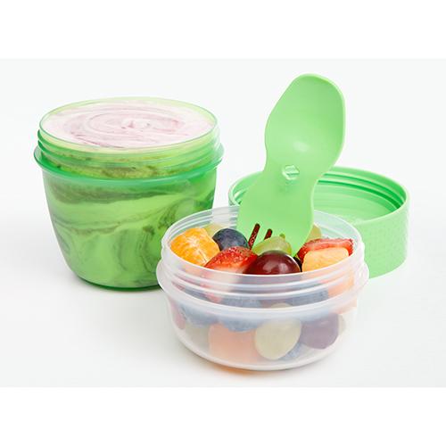 Sistema 21488VE. Capsula para snaks es ideal para llevar al lugar que vayas, y presenta dos espacios para mantener la comida separada y lista para comer.