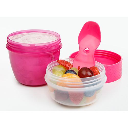 Sistema 21488MA. Capsula para snaks es ideal para llevar al lugar que vayas, y presenta dos espacios para mantener la comida separada y lista para comer.